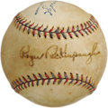 "Autographs:Baseballs, Early 1930's Roger Peckinpaugh Single Signed Baseball. Super-tough single derives from the estate of Bob ""Suitcase"" Seeds, ..."