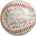 Autographs:Baseballs, 1969 Hall of Famers Multi-Signed Baseball. Jaw-dropping compilationof bold blue ink autographs was acquired at the 1969 Co...