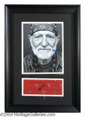 Autographs, Willie Nelson Framed Signed Bandana Display
