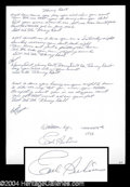 "Autographs, Carl Perkins Handwritten & Signed Lyrics for ""Honey Don't"""