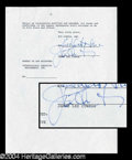 Autographs, Jaime Lee Curtis Signed Document
