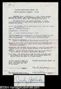 Autographs, Judy Holliday Signed Document