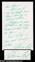 Autographs, Patricia Neal Handwritten Signed Notecard