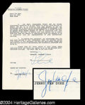 Autographs, Jerry Van Dyke Signed Document