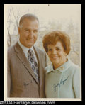 Autographs, Spiro and Judy Agnew Signed 8 x 10 Photo