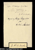 Autographs, Hans Christian Andersen Scarce Signature Page