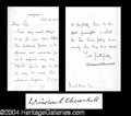 Autographs, Winston Churchill Rare Signed Letter Great Content