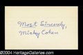 Autographs, Mickey Cohen (Mobster) Rare Ink Signature