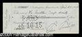 Autographs, Calvin Coolidge Signed Check