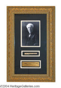 Autographs, Thomas Edison Beautiful Handwritten Relic Framed Display