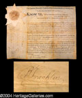 Autographs, Benjamin Franklin Signed Document from Fourth of July!