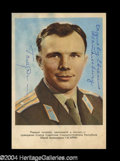 Autographs, Yuri Gagarin Signed Russian Postcard Photograph