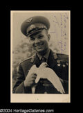 Autographs, Yuri Gagarin Vintage Signed Postcard Photo