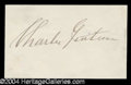 Autographs, Charles Guiteau Lincoln Assassin Ink Signature