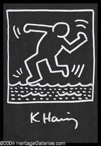 Keith Haring Original Signed Artwork - A stunningly unique original sketch from the famed pop-culture artist, 6 x 9, acc...