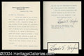 Autographs, Charles Evans Hughes Typed Letter Signed