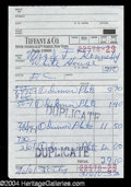 Autographs, Jaqueline Kennedy Original Tiffany & Co. Receipt