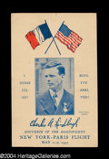 Autographs, Charles Lindbergh Flight Flown Postcard