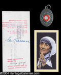Autographs, Mother Teresa Signed Check & Relic Lot