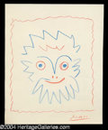 Autographs, Pablo Picasso Original Drawn & Signed Sketch