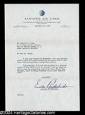 Autographs, Eddie Rickenbacker Typed Letter Signed