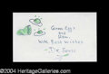 Autographs, Dr. Seuss Excellent Green Eggs and Ham Sketch Signed