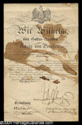 Autographs, Kaiser Wilhelm II Signed Document