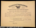 Autographs, Calvin Coolidge Signed Appointment as President