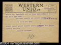 Autographs, Richard Nixon Unsigned Western Union Telegram