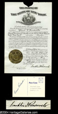 Autographs, Franklin & Eleanor Roosevelt Signed Document Lot