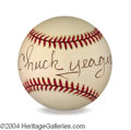 Autographs, Chuck Yeager In-Person Signed Baseball