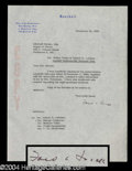 Autographs, Ford Frick Typed Letter Signed
