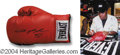 Autographs, Sugar Ray Leonard Signed Boxing Glove w/ Signing Photo