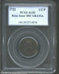 1722 1/2P Rosa Americana Halfpenny, UTILE AU55 PCGS. Breen-134. Generally mahogany-brown in color, but with an occasiona...