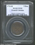 1721-H 9DEN French Colonies Copper Sou VF25 Brown PCGS. ...(PCGS# 158632)