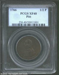 1766 1/2P Pitt Halfpenny XF40 PCGS. Breen-251. The olive-brown patina is even and original. The left obverse field has a...
