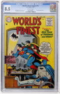 Golden Age (1938-1955):Superhero, World's Finest Comics #75 (DC, 1955) CGC VF+ 8.5 Off-white pages....