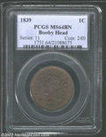 """1839 1C Booby Head MS64 Brown PCGS. The current Coin Dealer Newsletter (Greysheet) wholesale """"bid"""" price is $4..."""