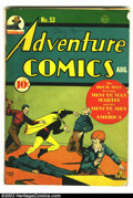 Golden Age (1938-1955):Superhero, Adventure Comics #53 (DC, 1940) Condition: apparent GD. Trimmed. Hourman jumps into action on this Baily cover, taking down ...