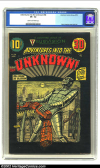 Adventures Into the Unknown #58 (ACG, 1954) CGC VF- 7.5 Cream to off-white pages. Truevision 3-D effect issue. Robot cov...