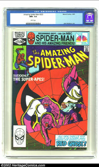 Amazing Spider-Man #223 (Marvel, 1981) CGC NM+ 9.6 White Pages. Ape cover. John Romita Jr art. Overstreet 2002 NM 9.4 va...