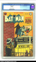 Batman #64 (DC, 1951) CGC VF 8.0 Cream to off-white pages. Incredibly gorgeous yellow sniper cover on this Dick Sprang b...