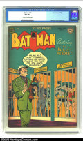"Golden Age (1938-1955):Superhero, Batman #71 (DC,1952) CGC VG+ 4.5 Cream to off-white pages. Batman in ""The Jail for Heroes!"" Overstreet 2002 G 2.0 value = $6..."
