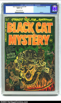 Black Cat Mystery #39 (Harvey, 1952) CGC FN/VF 7.0 Cream to off-white pages. This is the classic noose and witch cover o...