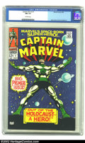 Silver Age (1956-1969):Superhero, Captain Marvel #1 (Marvel, 1968) CGC NM 9.4 Off-wite pages. Captain Marvel gets his own title, drawn by Gene Colan. Overstre...