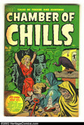 Golden Age (1938-1955):Horror, Chamber of Chills 21 (#1) (Harvey, 1951) FN 6.0. Here is a wild bondage and skeleton cover, and the first issue in the run. ...