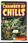 Golden Age (1938-1955):Horror, Chamber of Chills #21 (Harvey, 1954) Condition: VG/FN. Death makesa deadline! Here is one of the best images in comics bar ...