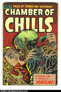 Golden Age (1938-1955):Horror, Chamber of Chills 23 (Harvey, 1954) Condition: GD+. This cover isalmost too gruesome for words as the poor fellow is just t...