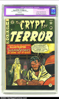 "Golden Age (1938-1955):Horror, Crypt of Terror #19 (EC, 1950) CGC Apparent FN- 5.5 Slight (A)Off-white pages. CGC notes: ""Restoration includes: small amou..."