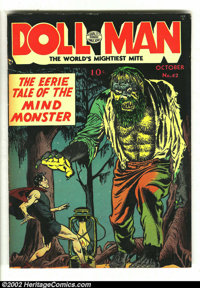 """Doll Man #42 (Quality, 1952) VG/FN 5.0 Tan to cream pages. Here is the """"Eerie Tale of the Mind Monster"""" on thi..."""
